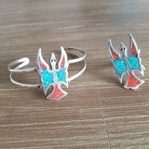 Vintage Peyote Turquoise and coral ring & cuff set